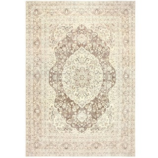 Antique Persian Tabriz Brown Background Rug - 14′4″ × 18′ For Sale
