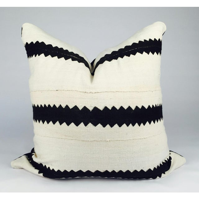 White and Black Striped Mudcloth Pillow - Image 2 of 5