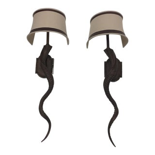 Elongated Faux Horn Wall Sconces - a Pair For Sale