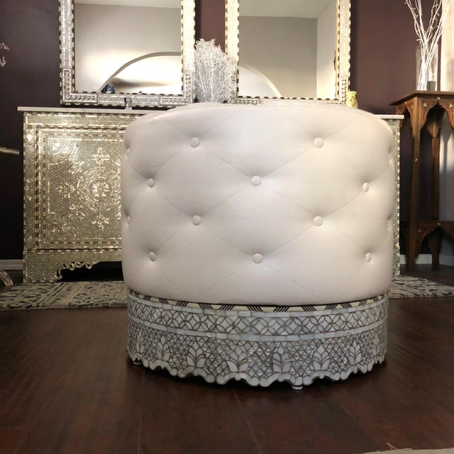 Contemporary Mother of Pearl Inlay Large Ottoman For Sale - Image 3 of 8