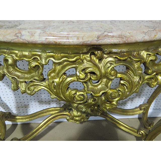 Aesthetic Movement Florentine Style Marble Top Console With Mirror For Sale - Image 3 of 12