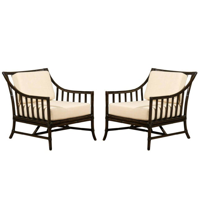 Restored Pair of Large Scale Vintage Rattan Lounge Chairs in Espresso For Sale - Image 9 of 9