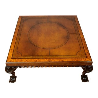 1910s Antique English Chippendale Burl Walnut Leather Top Coffee Table For Sale