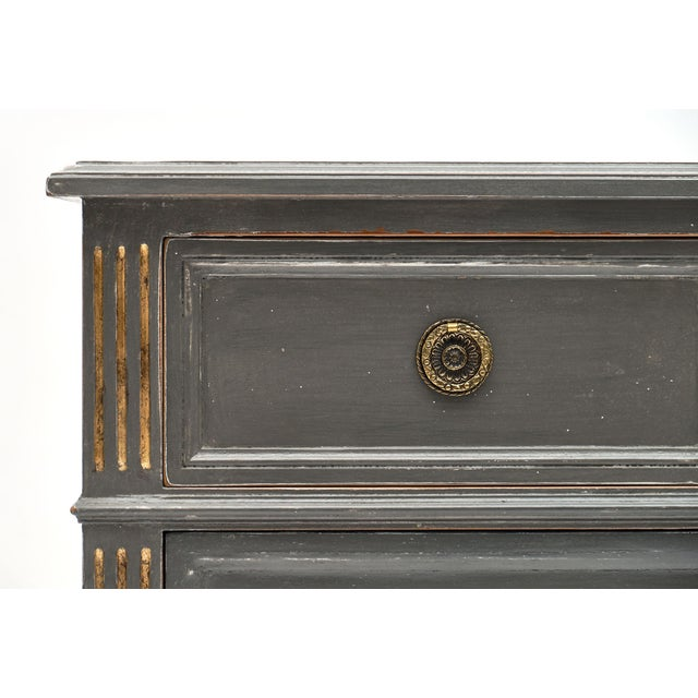 1910s Antique Louis XVI Style Gray Painted Chest For Sale - Image 5 of 10