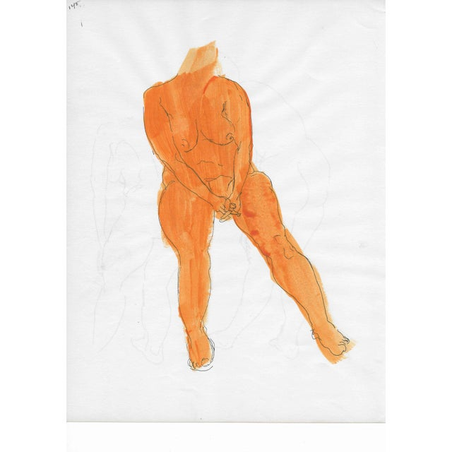 Orange Mid-Century Female Nude For Sale