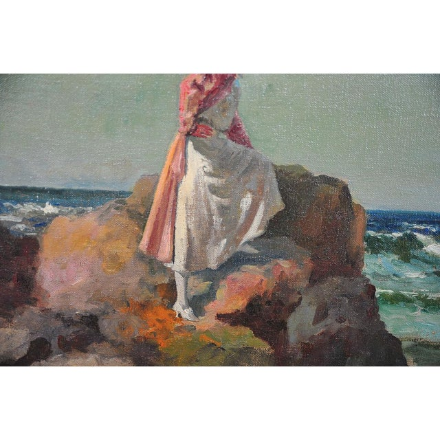 """""""Woman Looking at Sea,"""" Painting by A. Neogrady - Image 5 of 9"""