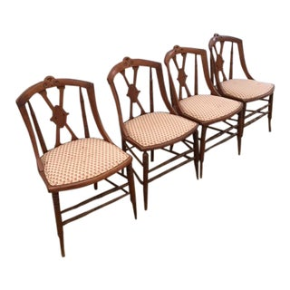 Victorian Maple Side Chairs With Pierced Back Slats and Upholstered Seats - Set of 4 For Sale