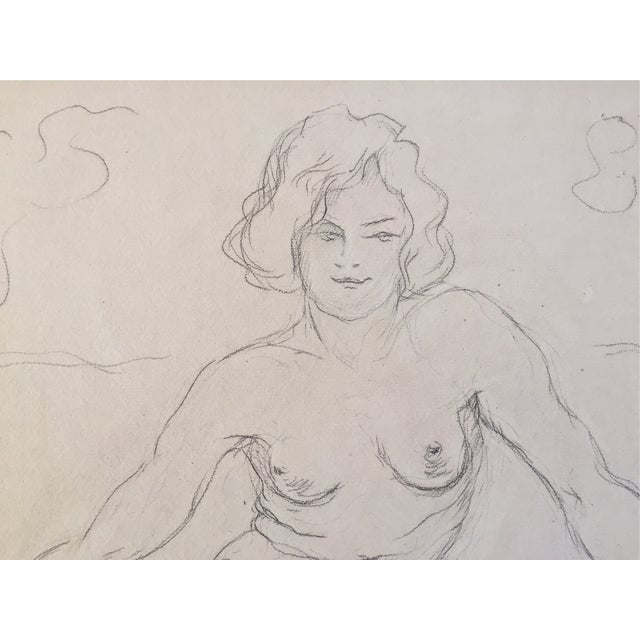 Vintage Drawing Seated Nude 1930 - Image 4 of 4
