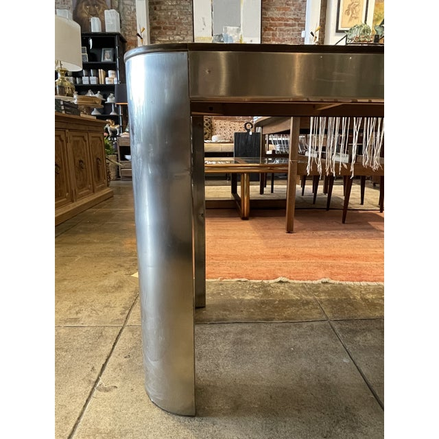 Silver 1970s Chrome and Mirror Console Table For Sale - Image 8 of 13