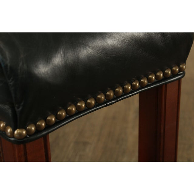 Black Chippendale Style Leather Long Stool or Ottoman For Sale - Image 8 of 13