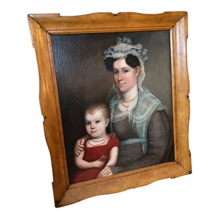 1820s American Mother and Child Portrait Painting in Maple Frame For Sale