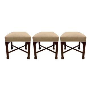 Set of 3 Chinese Chippendale Style Hickory Chair Ottomans For Sale