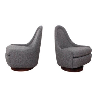 Pair of Petite Rocking Swivel Chairs by Milo Baughman For Sale