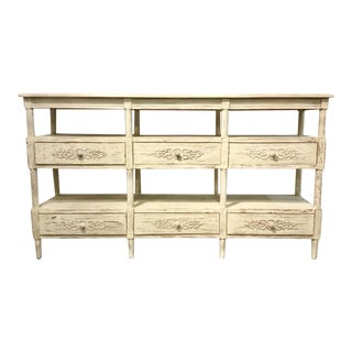 Shabby Chic French Style Currey & Co. White Washed Console Table For Sale