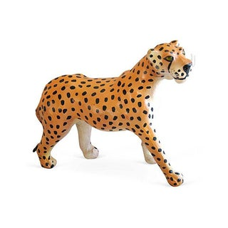 1970s Hand-Painted Leather Cheetah Figurine For Sale