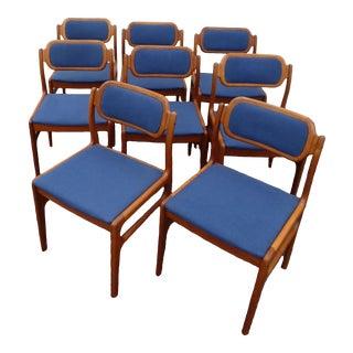 Danish Modern Teak Dining Chairs - Set of 8 - Johannes Andersen for Dscan For Sale