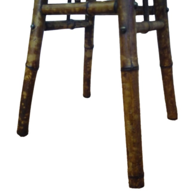 Antique Victorian Scorched Bamboo Side Table - Image 4 of 4
