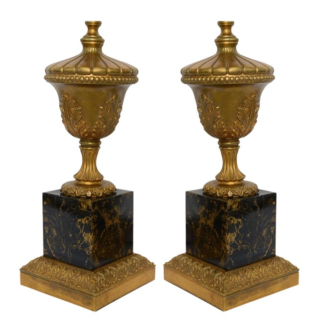 1950s Pair of 1950s Modern Neoclassical Style Gilt and Faux Marble Table Lamps For Sale - Image 5 of 8