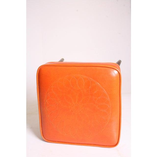 Mid Century Modern Orange Vinyl Foot Stool - Image 10 of 11