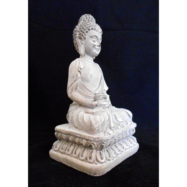 Asian Asian Antique Concrete Sitting Buddha Cement Figurine For Sale - Image 3 of 7