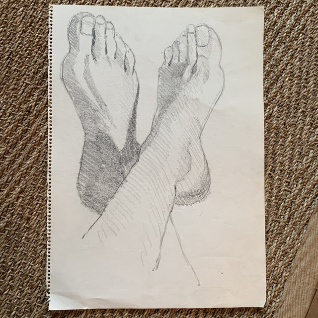 Charcoal 1970s Graphite Artists Study of Feet Classical Style For Sale - Image 8 of 8