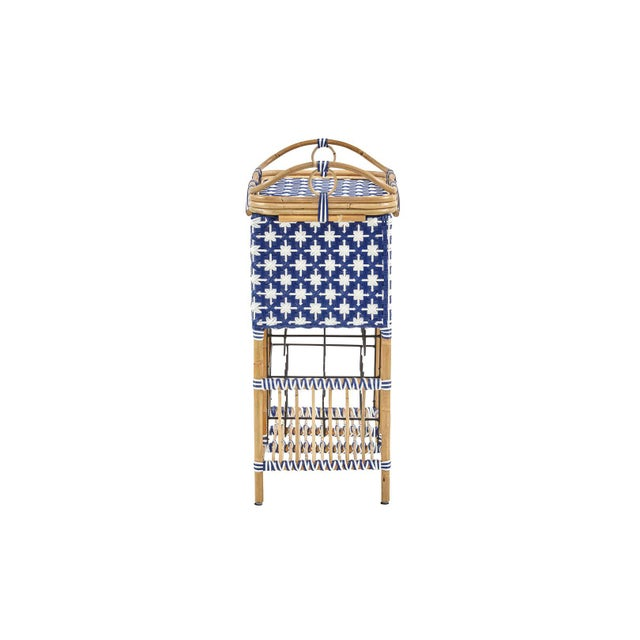 Madrid Wine Bar w/Removable Serving Tray. Star Pattern weave. Color - Navy/White.