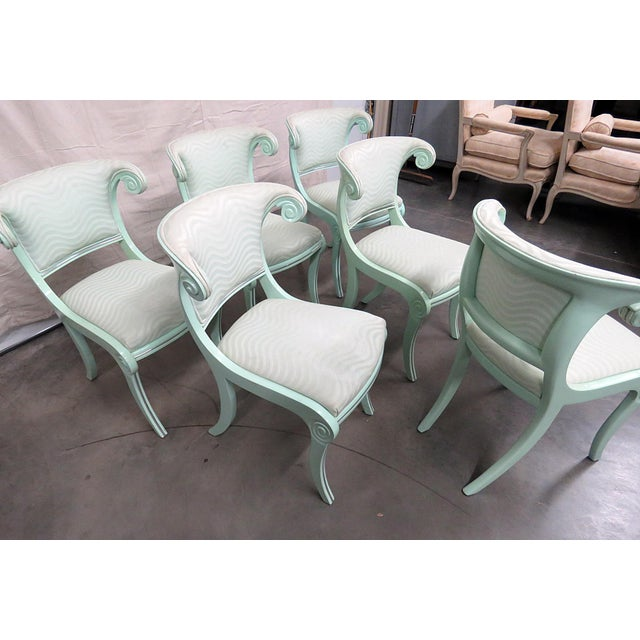 Art Deco Teal Lacquered Side Chairs - Set of 6 For Sale - Image 4 of 8