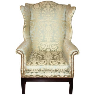 Early 20th Century Antique Silk Damask Wingback Library Chair For Sale