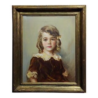 Julian Lamar -Portrait of a Blond Young Girl-Oil Painting 1933 For Sale