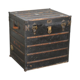 Antique Early 20th Century Flat Top Steamer Trunk