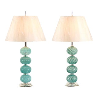 Outstanding Pair of Vintage Stacked Blown Glass Ball Murano Lamps For Sale