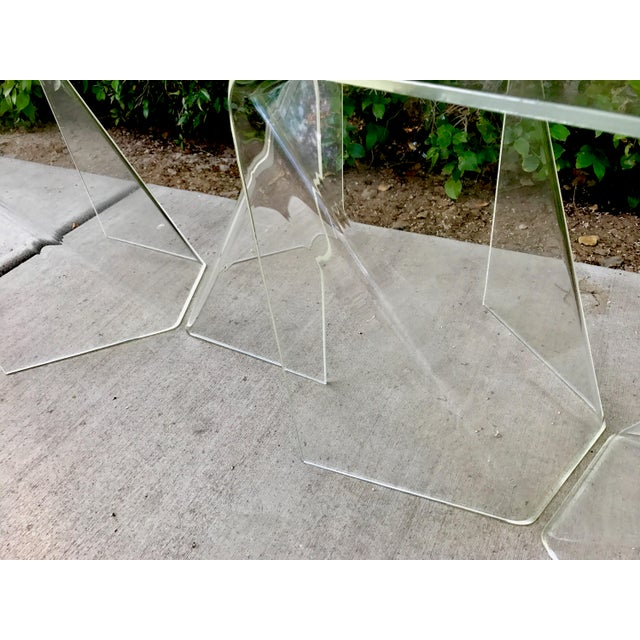 Transparent Neal Small Acrylic/ Lucite Tables - A Pair For Sale - Image 8 of 8