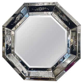 Venetian Style Hollywood Regency Octagon Mirror Etched Glass Beveled Antiqued For Sale