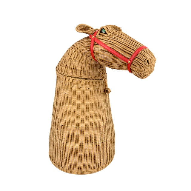 1970s Vintage 2-Piece Wicker Horse Hamper For Sale - Image 4 of 8