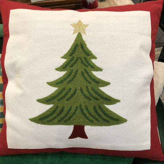 Beautiful classic embroidered Christmas tree pillow. Effortless touch of holiday cheer! Designer floor samples from one of...