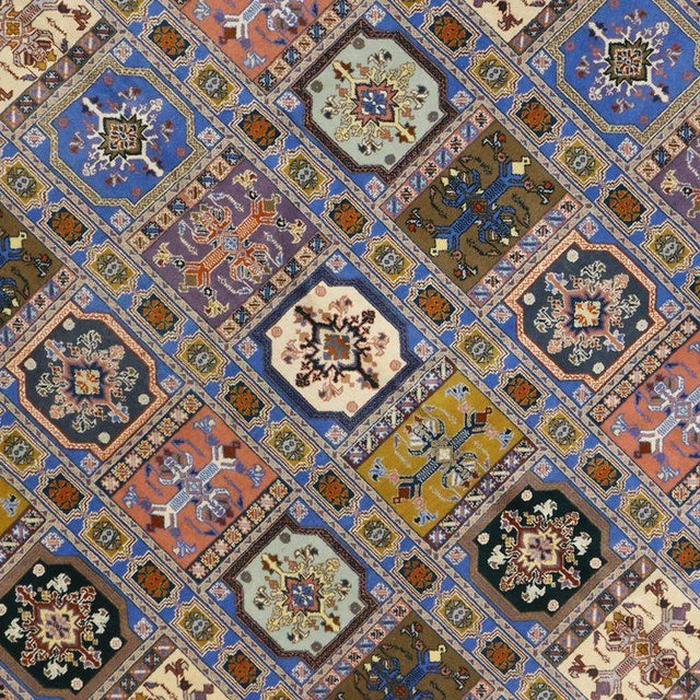 76491 Vintage Rabat Moroccan Rug with Transylvanian Anatolian Compartment Design. This hand-knotted wool vintage Rabat...