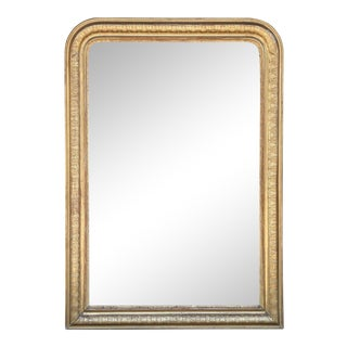 19th Century French Louis Philippe Carved Gilt Mirror With Original Glass For Sale