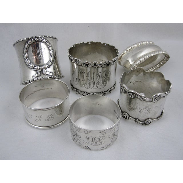 Antique Sterling Silver Napkin Rings - S/6 - Image 2 of 11