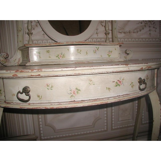 Flowered French Vanity With Mirror & Glove Box - Image 8 of 8