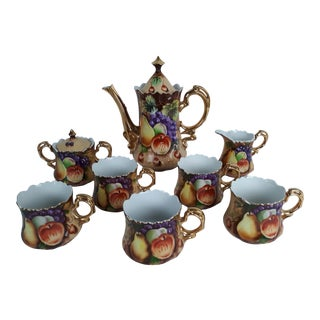 Vintage Lefton Heritage Brown Fruit Gold Trim 10 Piece Tea/Coffee Pot Set For Sale