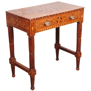 Folk Art Parquetry Side Table For Sale
