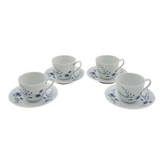 1940s Limoges Authentique Porcelaine Du Lys Royal 4 Cups and Saucers - Set of 8 For Sale