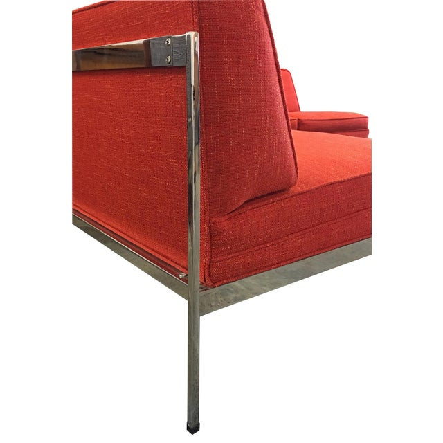 Chrome Mid-Century Modern Robert John Company Two Piece Chrome Sectional with Attached Side Table For Sale - Image 7 of 11