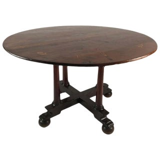 English Country Round Table With Inlaid Top For Sale