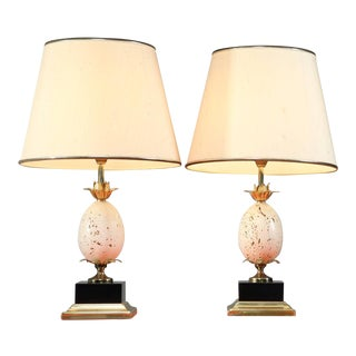 Pair of French Table or Console Lamps with Travertine Ostrich Egg For Sale