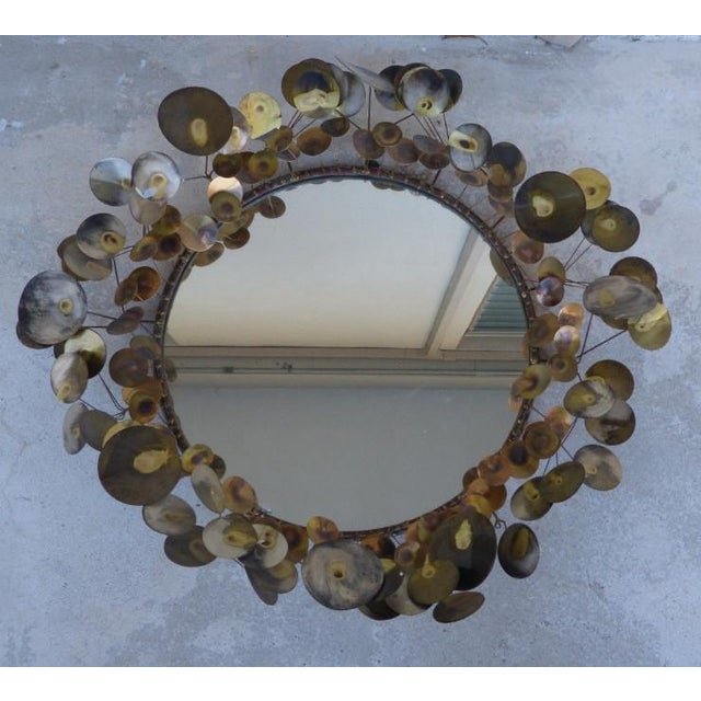1960's Vintage Curtis Jere Raindrops Circular Mirror For Sale In Miami - Image 6 of 7