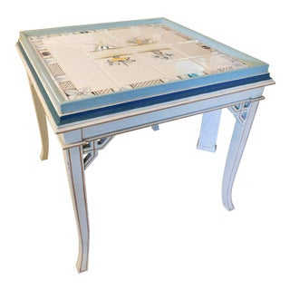 Maitland-Smith Hand Painted Tile Top Table For Sale