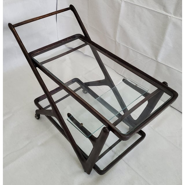Italian 1950s Italian Mid-Century Modern Serving Bar Cart - in Manner of Ico Parisi For Sale - Image 3 of 12