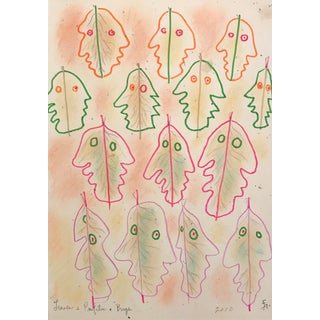 "Contemporary Drawing, ""Leaves & Profiles & Bugs"" by James Frederic Bone For Sale"