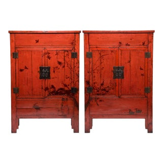 Pair of Chinese Red Lacquer Cabinets With Birds in Flight For Sale